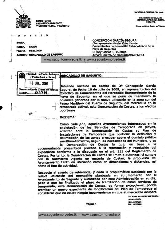 copia informe costas sobre el mercadillo sábado, 18 de julio de 2009